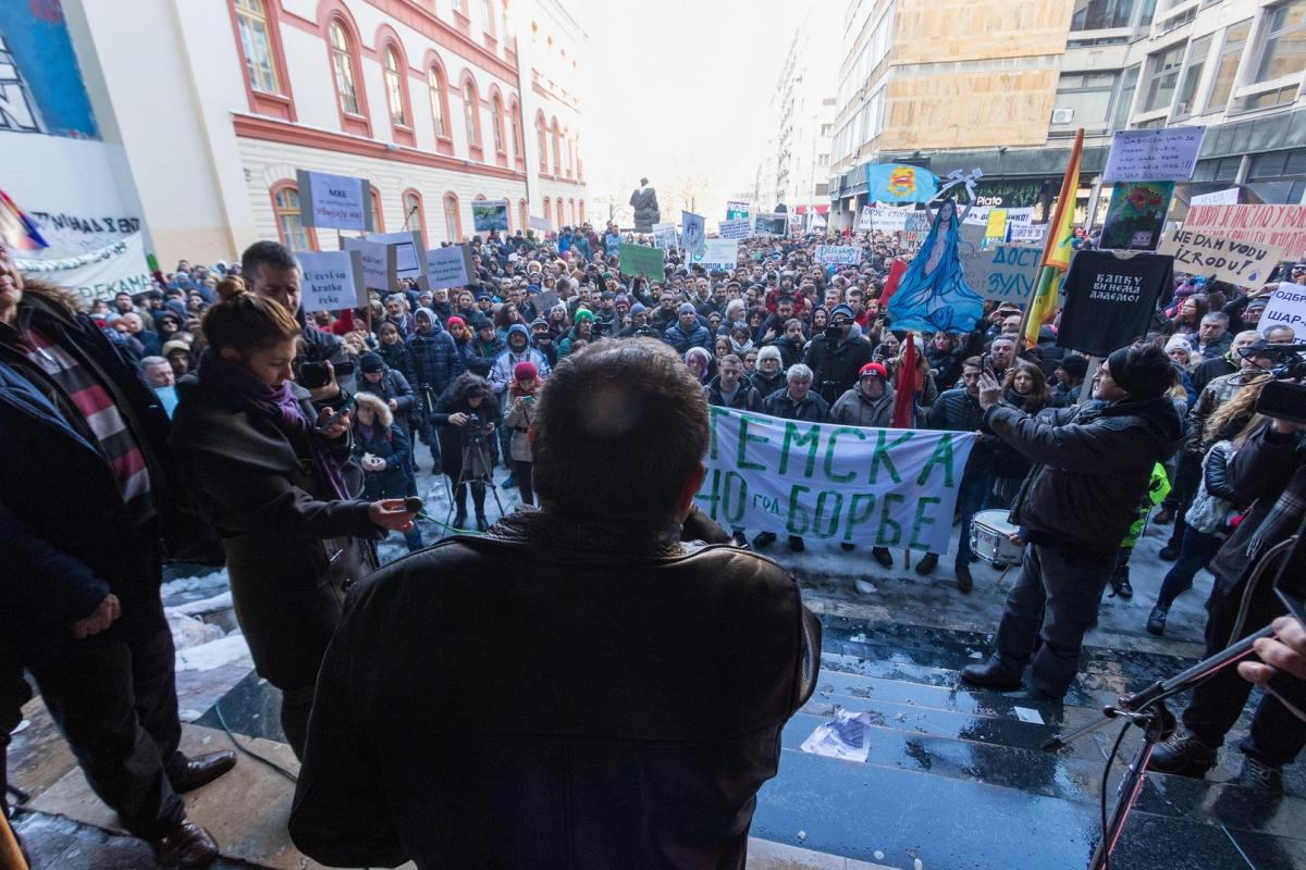 Desko speaking at the anti-hydropower rally in Belgrade, January 2019. © Tijana Jevtić