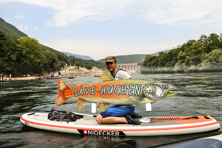 Huchen protest at the Drina Regatta. The Drina is the most important river for this globally threatened species, but dam projects are putting them at risk © Aleksandar Skoric