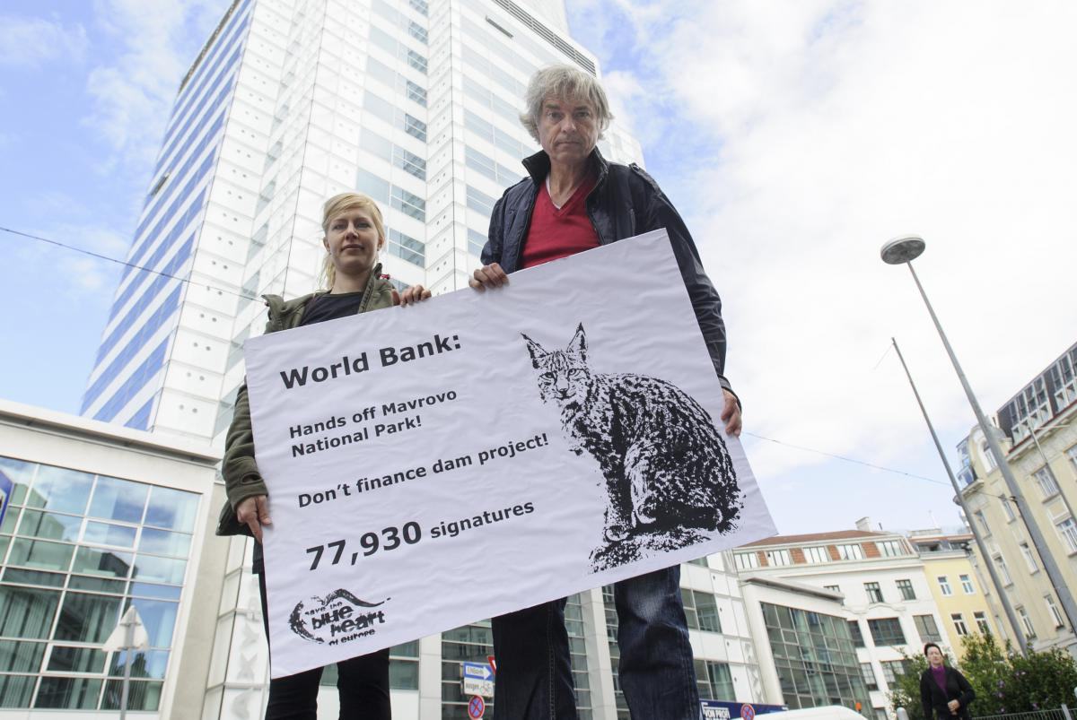 Protest in front of World Bank Country Unit in Vienna. Representatives of Riverwatch (Cornelia Wieser and Ulrich Eichelmann) hand over 77,930 signatures against the planned funding of a hydroelectric dam in the Mavrovo National Park in Macedonia. © Martin Juen