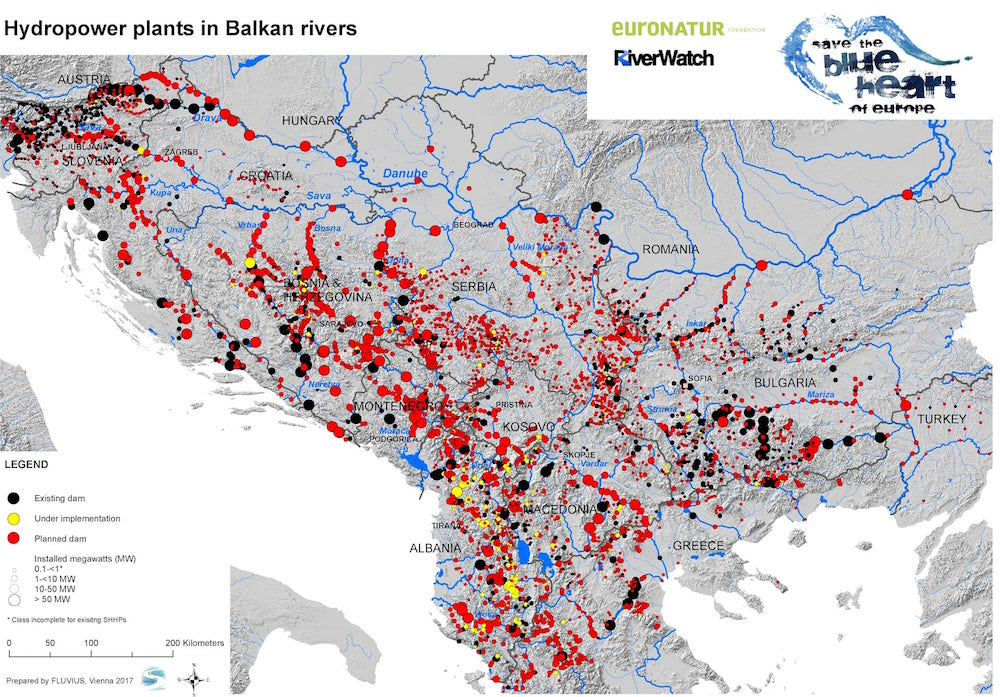A map of the projects in Western Balkans