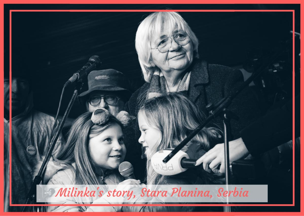 Milinka with her granddaughters, speaking at an anti-dam protest, the largest ever environmental gathering in Belgrade, January 2019. © Tijana Jeftić