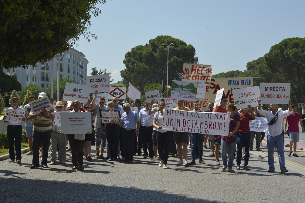 On 6 July, the protests commenced with a rally in Tirana. © EcoAlbania