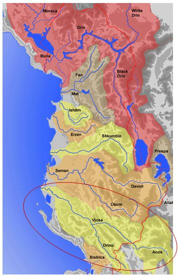 Albania's major river catchments with the Vjosa River basin marked in red. Source: Wikipedia