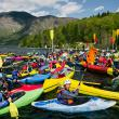 DAY 1 - Paddlers gathered at the lake to protest the imminent dam tsunami in the Balkans. © Jan Pirnat
