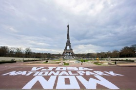 The Vjosa visual action was carried out in four capital cities in Europe. Eiffel Tower in Paris/France