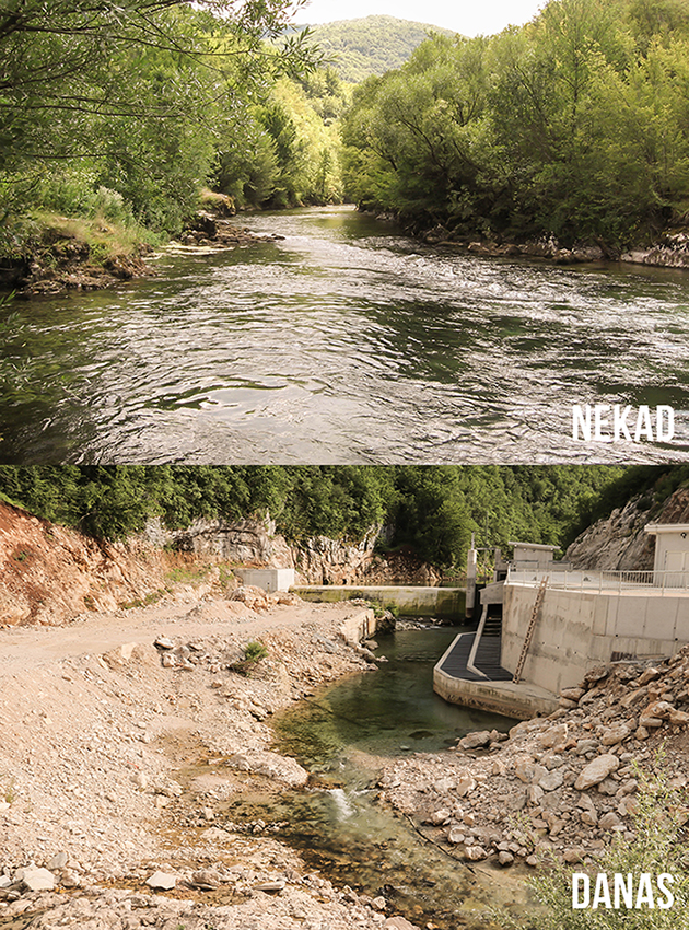 Sana river before and after the construction of HPP Medna © Viktor Bjelic