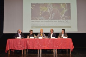 Press Conference prior to the Mavrovo Conference. From left to right: Andrej Sovinc, WCPA Regional Vice Chair for Europe, IUCN; Ljupco Melovski, president of MES; Aleksandra Bujarovska, coordinator of the National campaign from Front 21/42; and Ulrich Eichelmann, CEO of Riverwatch, Gabriel Schwaderer, CEO of EuroNatur.