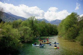 DAY 1 - Sava Bohinjka. Joint protest of local fishing club members and Kayakers against an existing dam that separates Huchen territories.