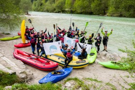 DAY 3 - River Soča: as all rivers of the Balkan Rivers Tour, the Soča is also threatened. While five big as well as many small hydroelectric power plants are already operating on the river, many more are planned in the upper Soča Basin.