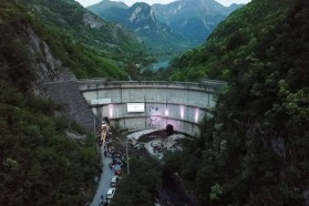 About 500 people at the Blue Heart premiere, screened on the dam wall of the Idbar Dam, close to Konjic in Bosnia and Herzegovina