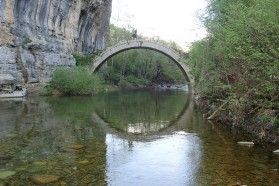 The Lazaridi bridge in the Vikos gorge. Natural heritage blends with cultural heritage.