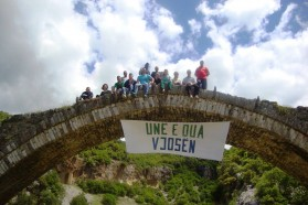 """Local support from Përmet, Albania. The banner reads """"I love Vjosa""""."""