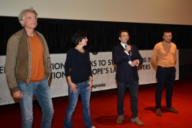 From left to right: Ulrich Eichelmann (Riverwatch) and Theresa Schiller (EuroNatur) of the international Save the Blue Heart team, Blendi Salaj (Albanian journalist and event moderator), Olsi Nika (EcoAlbania, local campaign partner)