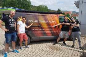 The outdoor 'Blue Heart' screenings in the Balkans are facilitated by Solar Cinema Bus VIA SOLIS, a solar powered mobile cinema. VIA SOLIS Team on tour from Skopje to Tirana, from left to right: Tomislav Mikulčić, Marko Gašparić, Juraj Požgaj, Karlo Grdić