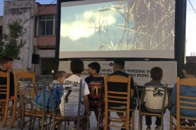 Youngsters enjoying the unusual outdoor screening