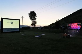Luckily, the weather held and the screening could be carried out outdoors by Solar Cinema Bus ADRIA