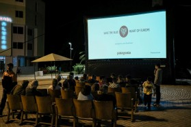 "About 100 people watched ""Blue Heart"" at the screening in Permet, a town along the upper Vjosa reach."