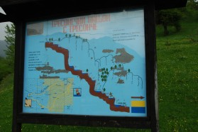 Info board about the Tresonče area, the location of the planned Boskov Most hydropower project.
