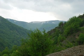 View of Mount Korab from Nistrovo, a village in the Mavrovo National Park.
