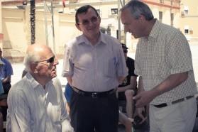 Professors of Tirana University. From left to right: Prof. Leonard Topuzi, Prof. Aleko Miho, Prof. Besnik Baraj