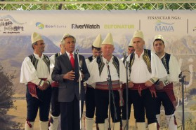 Famous singer Golik Jaupi and his traditional iso-polyphonic band from Bënça