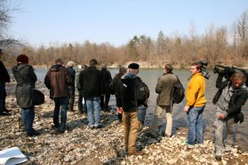 Following the press conference we invited journalists to a trip to the Sava, where we released several Huchen, hopefully into a good future.