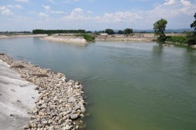 The Brezice Dam on the Sava in Slovenia (close to the border with Croatian) is already under construction. The Sava has been diverted into an artificial, concrete canal while the new dam is being built across.