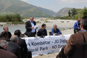 """We live with the river. We want the Vjosa to stay alive and we are hopeful that our communities would benefit from a national park. Dams create no jobs for our people, a national park would do so. We are supporting the idea of a national park"", says Hysni Cela, Mayor of Qesarat."