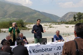 """We are here to announce our will to establish a Vjosa National Park. We want to protect this river for the benefit of nature and local communities"", says Kujtim Mersini, CEO of the Albanian environmental NGO Protection and Preservation of Natural Environment in Albania (PPNEA) and organizer of this event."